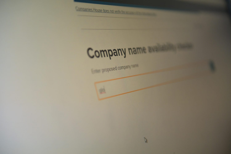 Company registration screen